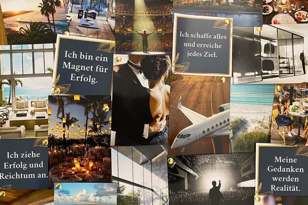 Ein Visionboard, oder auch Motivations-Collage genannt, ist eine Zusammenstellung von Bildern, die dich inspirieren und motivieren.
